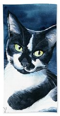Rollie Tuxedo Cat Painting Bath Towel