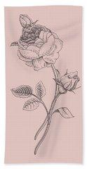 Rose Blush Pink Flower Bath Towel