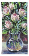 Roses Bouquet In Glass Vase Floral Impressionism  Hand Towel