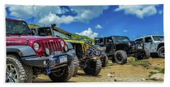 Row Of Jeeps Hand Towel