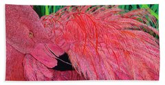 Ruffled Flamingo Hand Towel