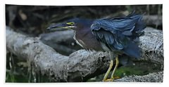 Ruffled Green Heron Bath Towel