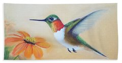 Rufous In Marigolds  Hand Towel