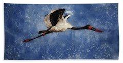 Saddle Billed Stork Bath Towel