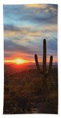 Saguaro Cactus And Tucson At Sunset Bath Towel