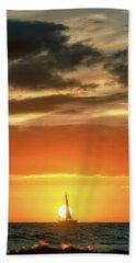 Sailboat In Front Of A Hawaiian Sunset Bath Towel