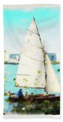 Sailboat On The River Watercolor Bath Towel