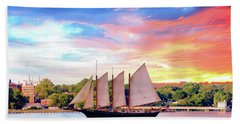 Sails In The Wind At Sunset On The York River Hand Towel