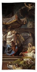 Saint Charles Borromeo Bringing The Assistance Of Religion To The Plague Victims Of Milan, 1785 Hand Towel