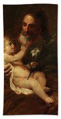 Saint Joseph With The Infant Saviour Hand Towel