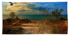 Sand Track To The Ocean At Dusk Bath Towel