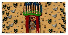 Sankta Lucia With Love And Candles In The Silent Night Bath Towel
