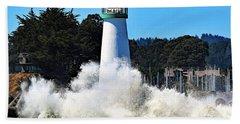 Santa Cruz Lighthouse And Crashing Waves Hand Towel