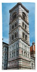 Santa Maria Del Fiore Cathedral Doorway And Bell Tower Hand Towel