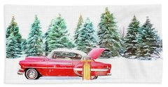 Bath Towel featuring the painting Santa's Other Sleigh by Harry Warrick