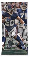 Saquon Barkley New York Giants Abstract Art 1 Bath Towel