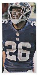 Saquon Barkley New York Giants Abstract Art 6 Bath Towel