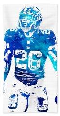 Saquon Barkley New York Giants Water Color Pixel Art 11 Bath Towel