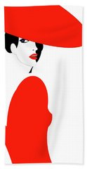 Lady In Red Bath Towel