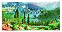 Scenic Mountain Lake Hand Towel