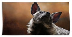 Bath Towel featuring the photograph Scenting The Air - Striped Hyena by Debi Dalio