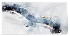 Seagull In Flight With Watercolor Effects Hand Towel