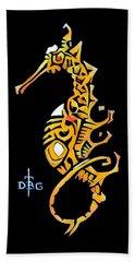 Seahorse Golden Hand Towel