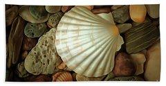 Seashell On Sea Pebbles Bath Towel