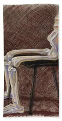 Seated Skeleton Legs And Hips In Pastel  Hand Towel