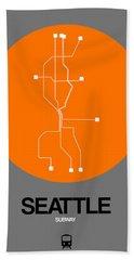Seattle Orange Subway Map Bath Towel
