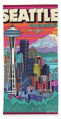 Seattle Poster - Pop Art Skyline Bath Towel