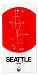 Seattle Red Subway Map Bath Towel