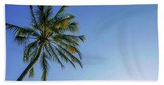 Shades Of Blue And A Palm Tree Bath Towel