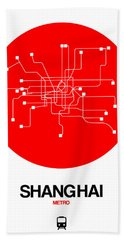 Shanghai Red Subway Map Hand Towel