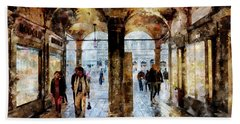 Shopping Area Of Saint Mark Square In Venice, Italy - Watercolor Effect Bath Towel