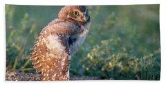 Shy Young Burrowing Owl Hand Towel