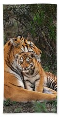 Siberian Tiger Mother And Cub Endangered Species Wildlife Rescue Hand Towel