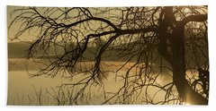 Silhouette Of A Tree By The River At Sunrise Hand Towel