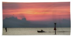 Silhouette's Sailing Into Sunset Bath Towel