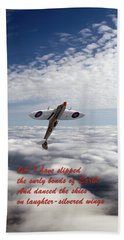 Bath Towel featuring the photograph Silver Spitfire - Slipping The Surly Bonds ... by Gary Eason