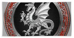 Silver Winged Norse Dragon - Icelandic Viking Landvaettir On Black And Silver Medallion Over Red  Bath Towel