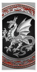 Silver Winged Norse Dragon - Icelandic Viking Landvaettir On Black And Silver Medallion Over Red  Hand Towel