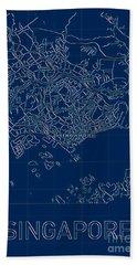 Singapore Blueprint City Map Hand Towel
