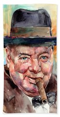 Sir Winston Churchill In His Hat Hand Towel