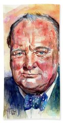 Sir Winston Churchill Portrait Bath Towel