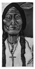 Sitting Bull - Black And White Hand Towel