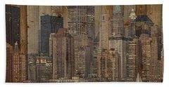 Skyline Of New York, Usa On Wood Hand Towel