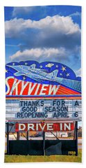 Skyview Drive-in Theater Neon Sign Bath Towel
