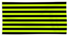 Small Slime Green And Black Horizontal Witch Stripes Bath Towel