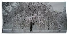 Snow And Mist By The River Hand Towel